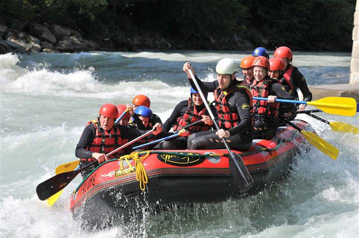 Rafting boat with persons